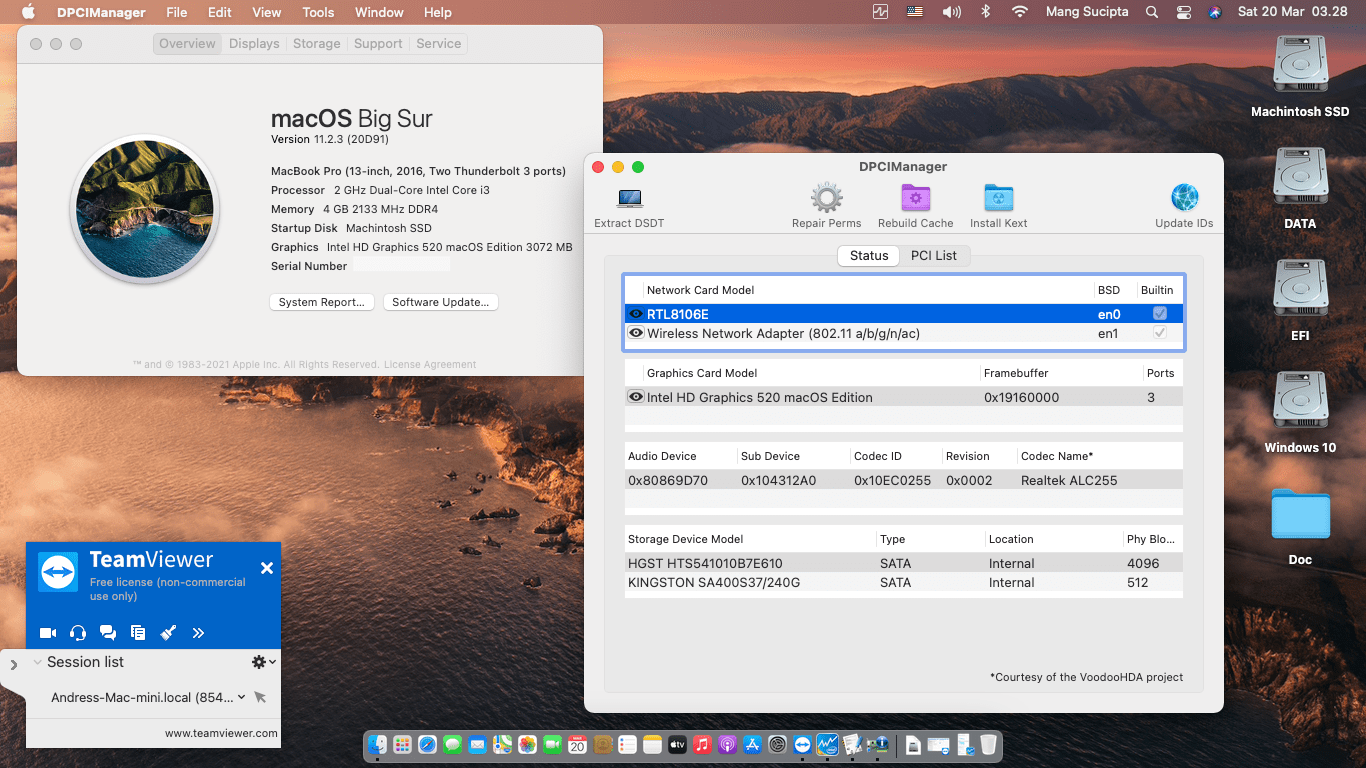 Success Hackintosh macOS Big Sur 11.2.3 Build 20D91 in Asus X441UB-GA045T